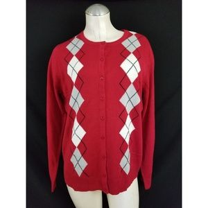 Croft & Barrow Size XL Red Argyle Cardigan